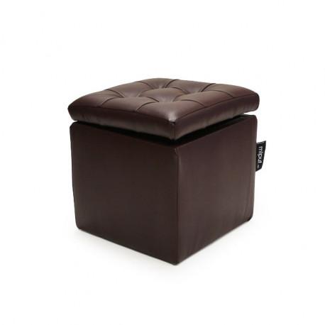 Puff Arcón 40x40x40 Polipiel Chocolate