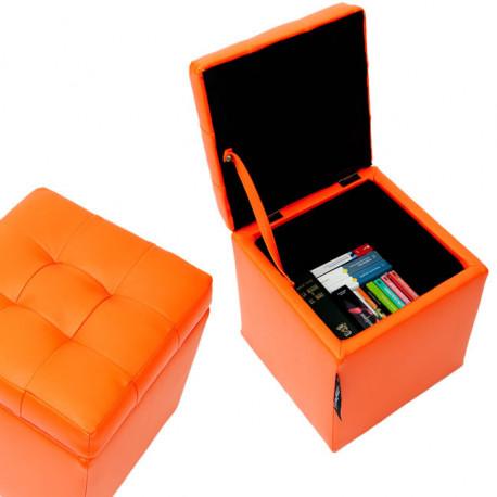 Puff Arcón 40x40x40 Polipiel Naranja