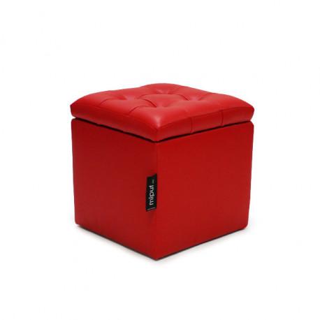 Puff Arcón 40x40x40 Polipiel Rojo