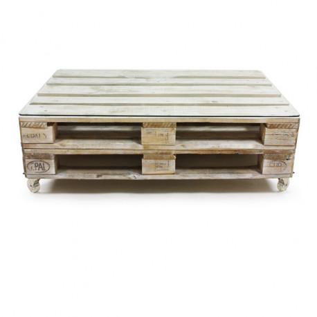 Mesa de Palet ECO Blanco Envejecido con Cristal, Ruedas y Doble Base