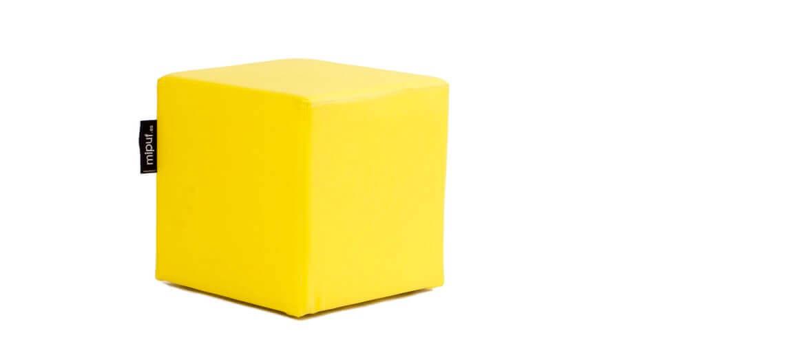 Puff Cuadrado Cube 40x40 - Polipiel Amarillo
