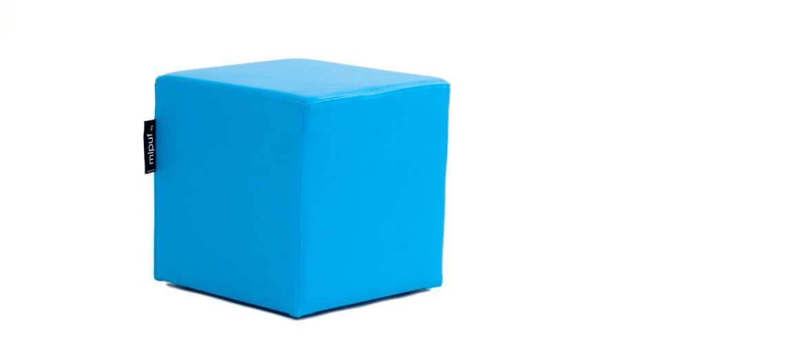 Puff Cuadrado Cube 40x40 - Polipiel Azul turquesa