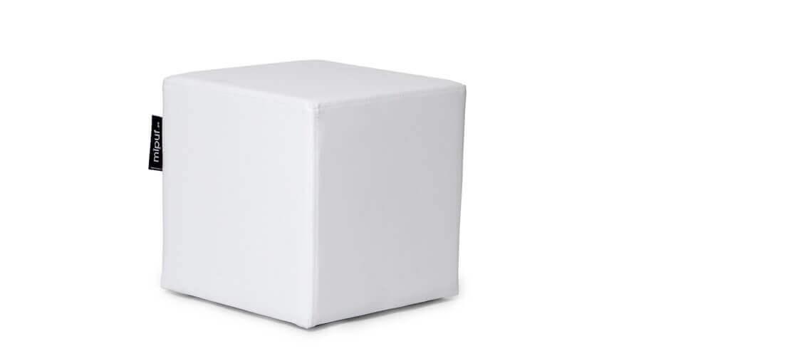 Puff Cuadrado Cube 40x40 - Polipiel Blanco