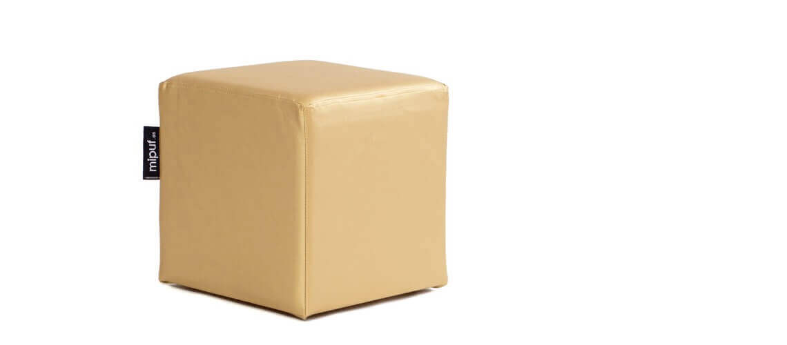 Puff Cuadrado Cube 40x40 - Polipiel Dorado
