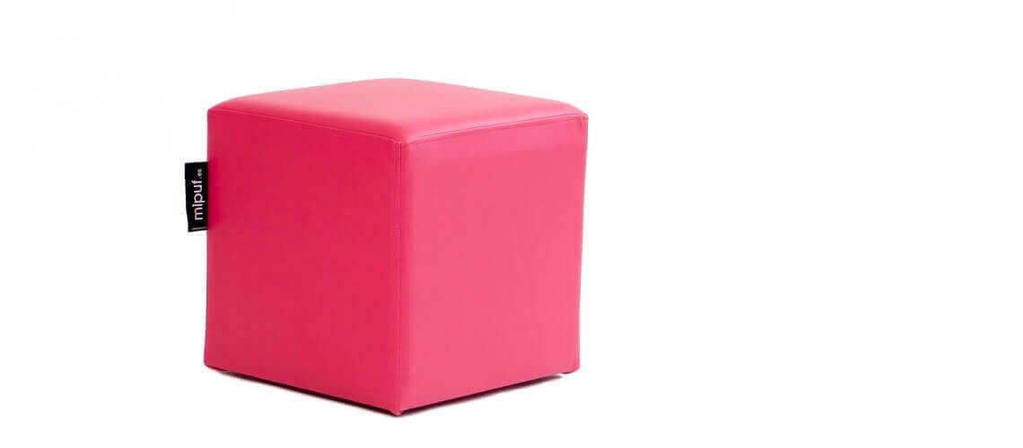 Puff Cuadrado Cube 40x40 - Polipiel Fucsia