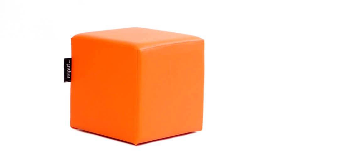 Puff Cuadrado Cube 40x40 - Polipiel Naranja