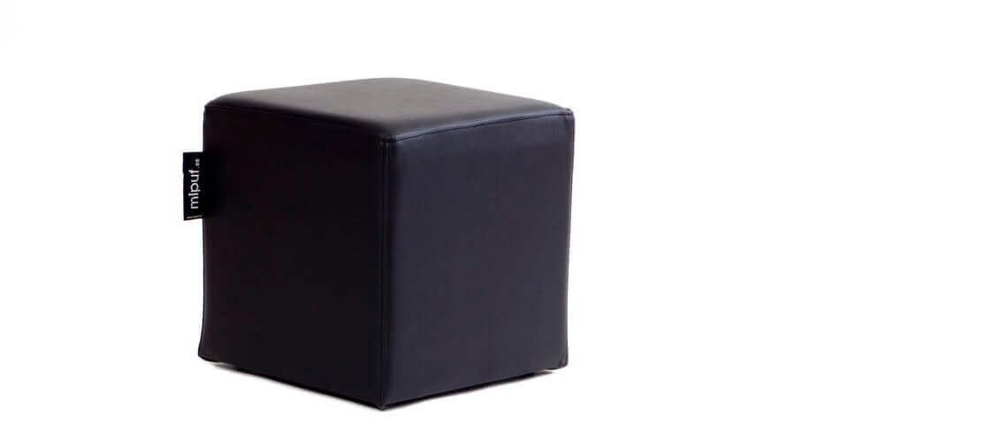 Puff Cuadrado Cube 40x40 - Polipiel Negro