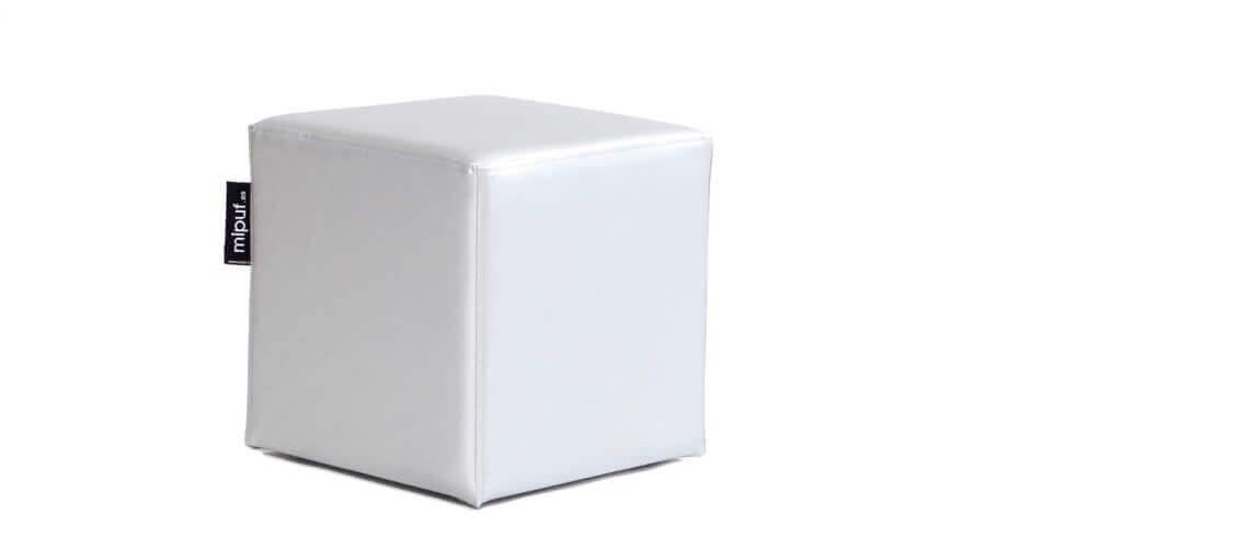 Puff Cuadrado Cube 40x40 - Polipiel Plata