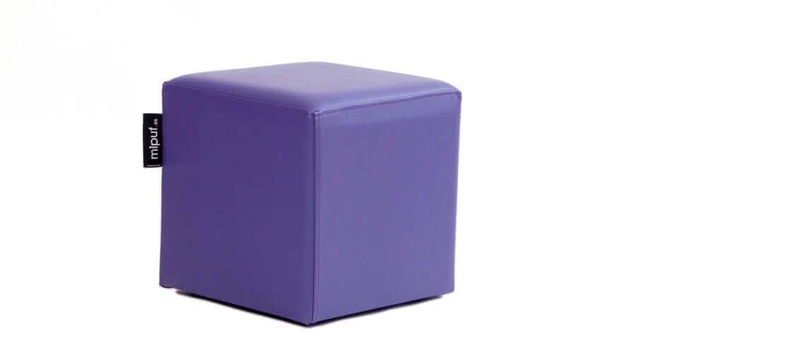Puff Cuadrado Cube 40x40 - Polipiel Violeta