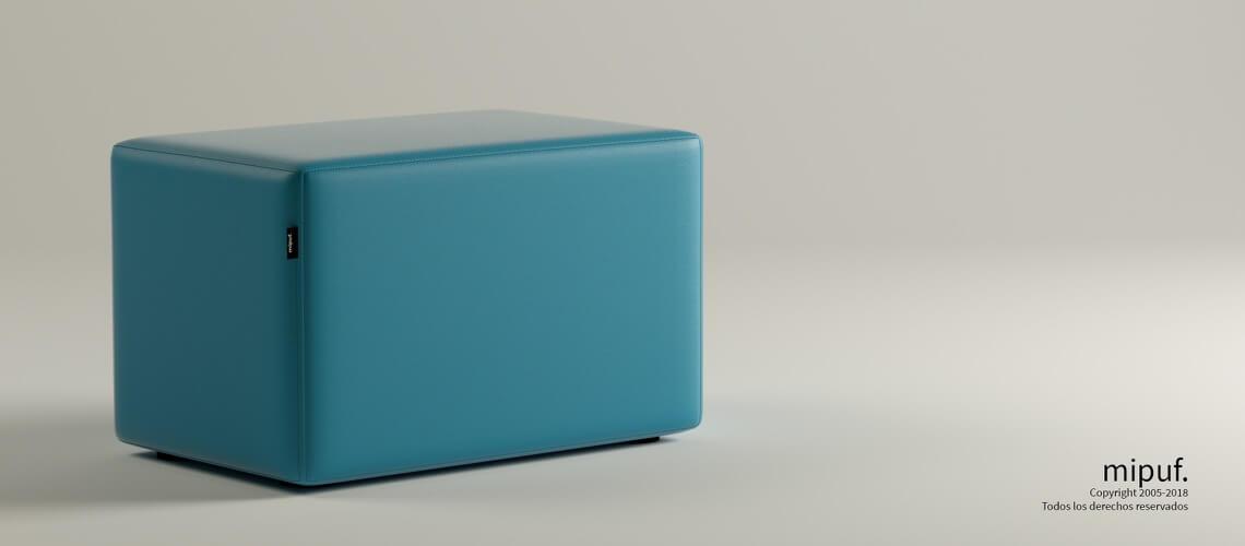 Puff Rectangular Cube 75x40 - Polipiel Azul turquesa