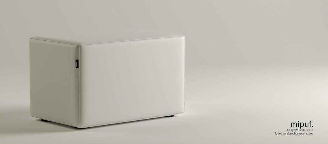 Puff Rectangular Cube 75x40 - Polipiel Blanco