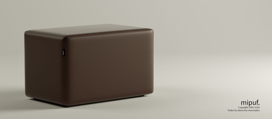 Puff Rectangular Cube 75x40 - Polipiel Chocolate