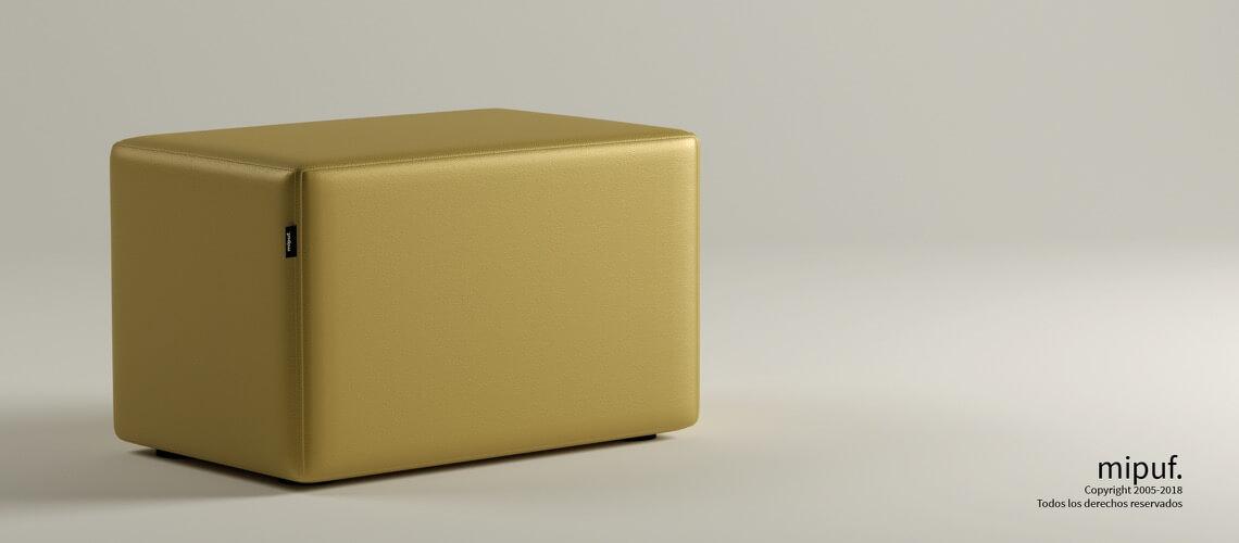 Puff Rectangular Cube 75x40 - Polipiel Dorado