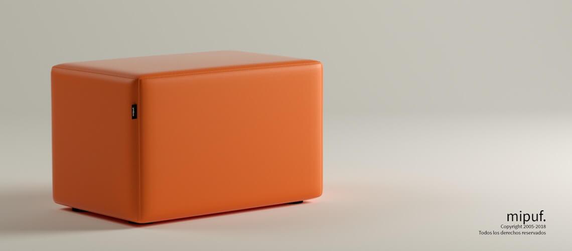 Puff Rectangular Cube 75x40 - Polipiel Naranja