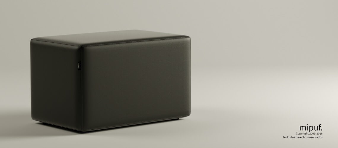 Puff Rectangular Cube 75x40 - Polipiel Negro
