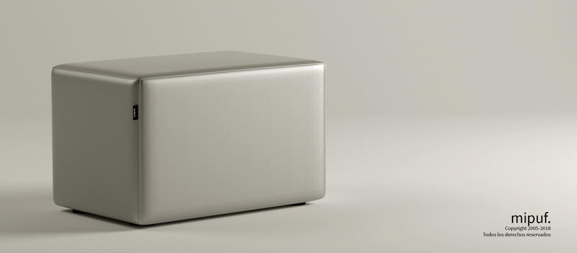 Puff Rectangular Cube 75x40 - Polipiel Plata