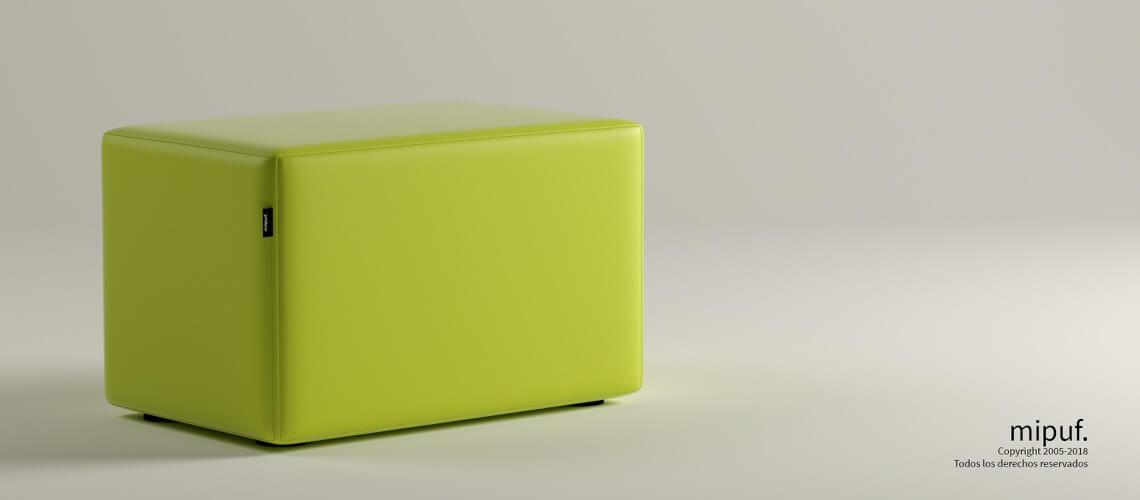 Puff Rectangular Cube 75x40 - Polipiel Verde