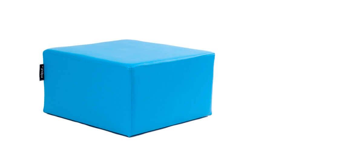 Puff Cuadrado Cube 75x75 - Polipiel Azul turquesa