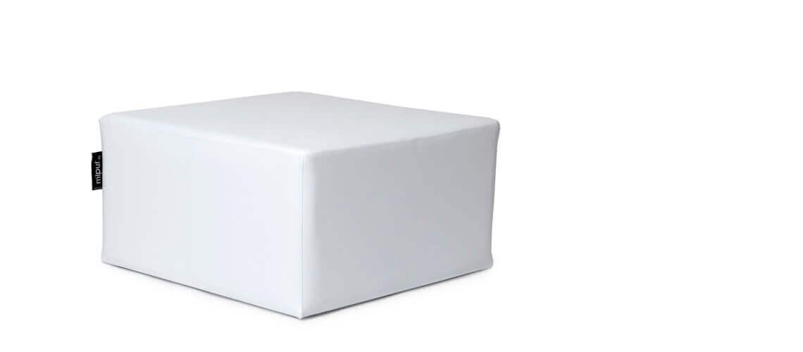 Puff Cuadrado Cube 75x75 - Polipiel Blanco