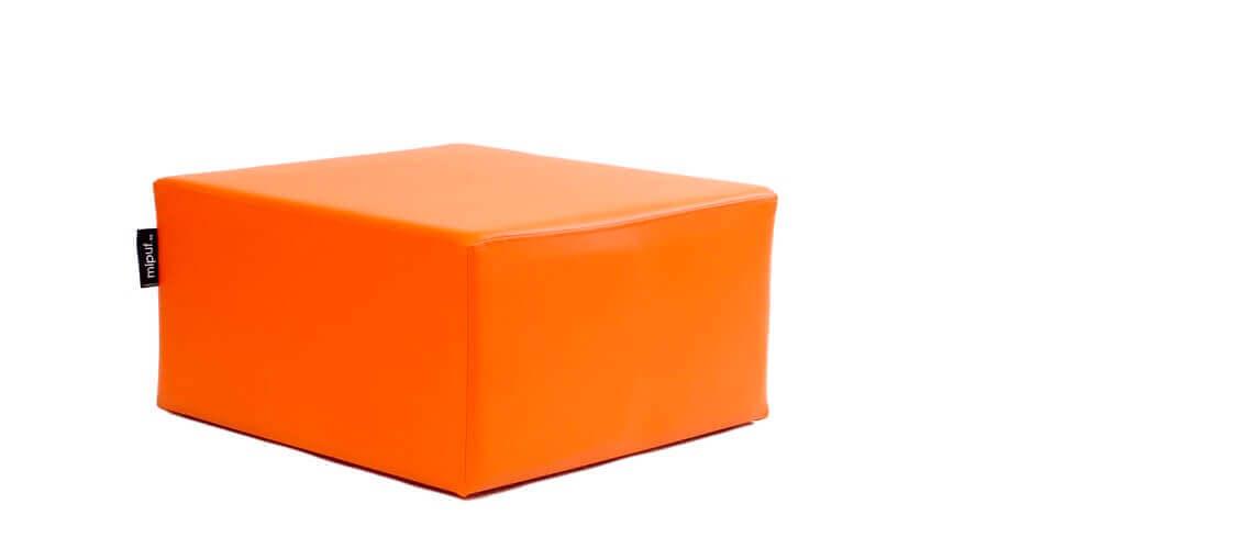 Puff Cuadrado Cube 75x75 - Polipiel Naranja