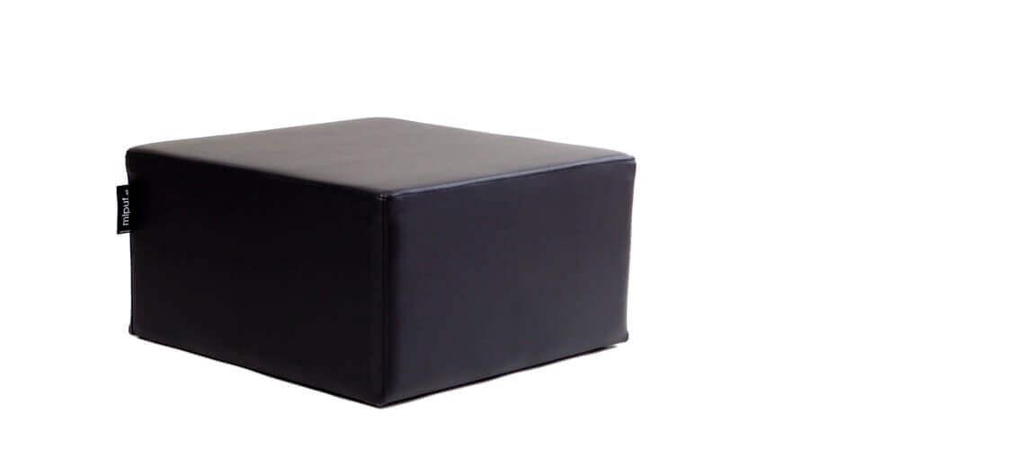 Puff Cuadrado Cube 75x75 - Polipiel Negro