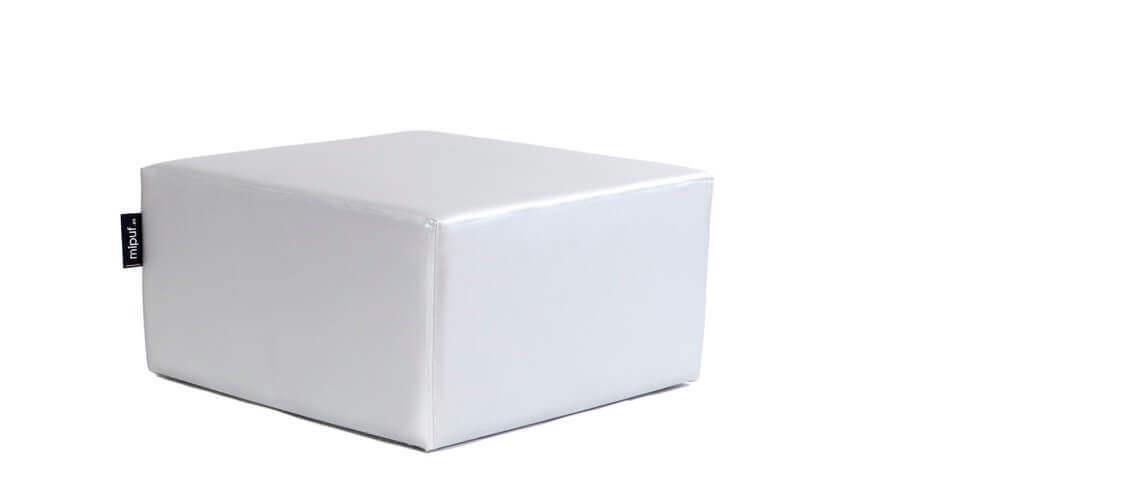 Puff Cuadrado Cube 75x75 - Polipiel Plata