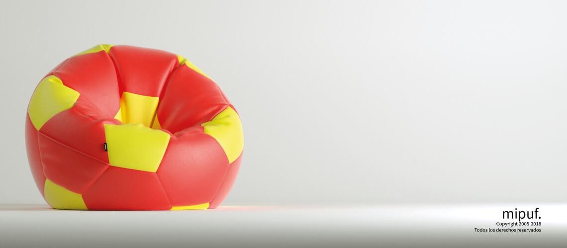 Puff Futbol 120 Diametro Adulto - Rojo y Amarillo