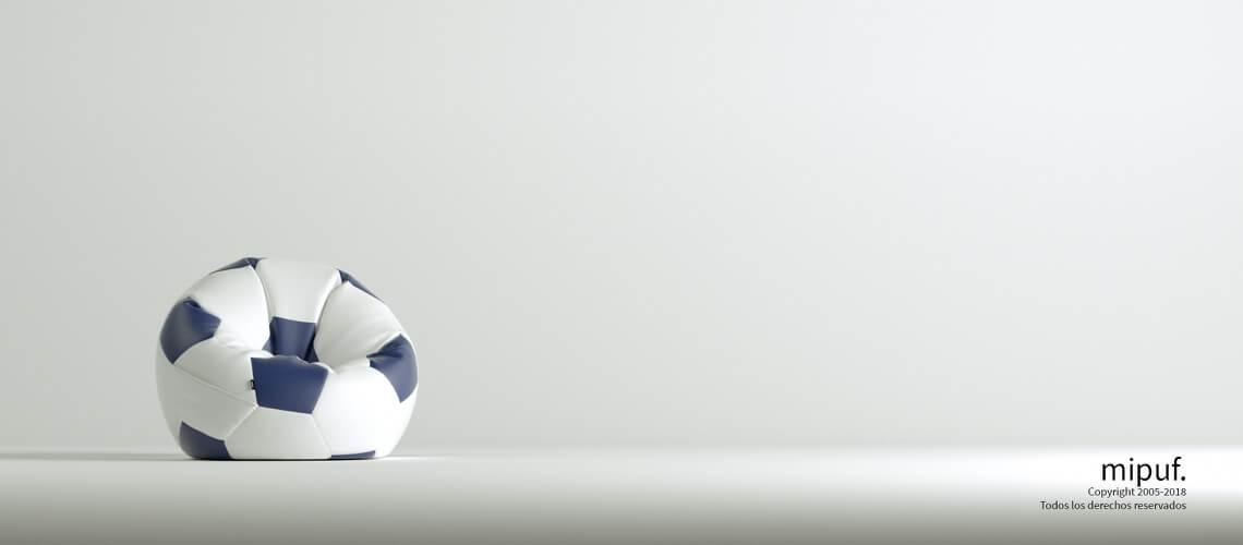 Puff Futbol 60 Diametro Infantil - Azul Marino y Blanco