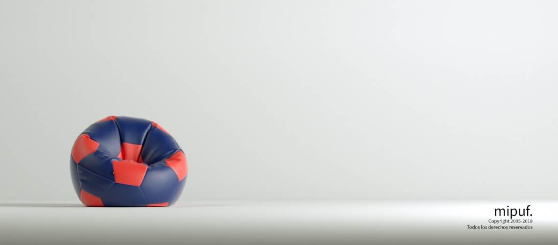 Puff Futbol 60 Diametro Infantil - Azul Marino y Rojo