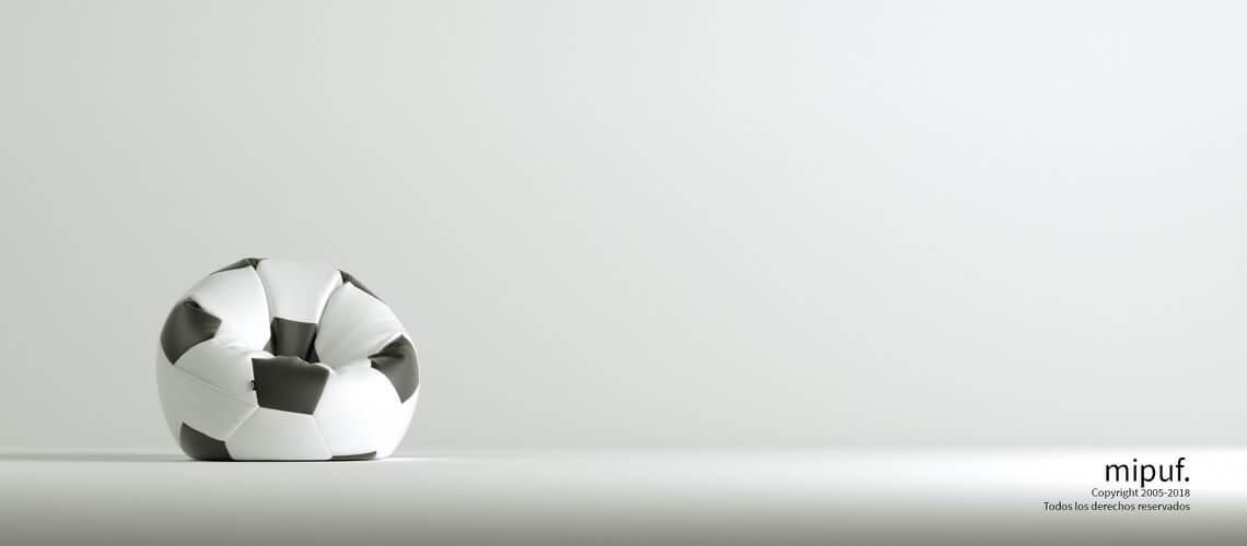 Puff Futbol 60 Diametro Infantil - Negro y Blanco