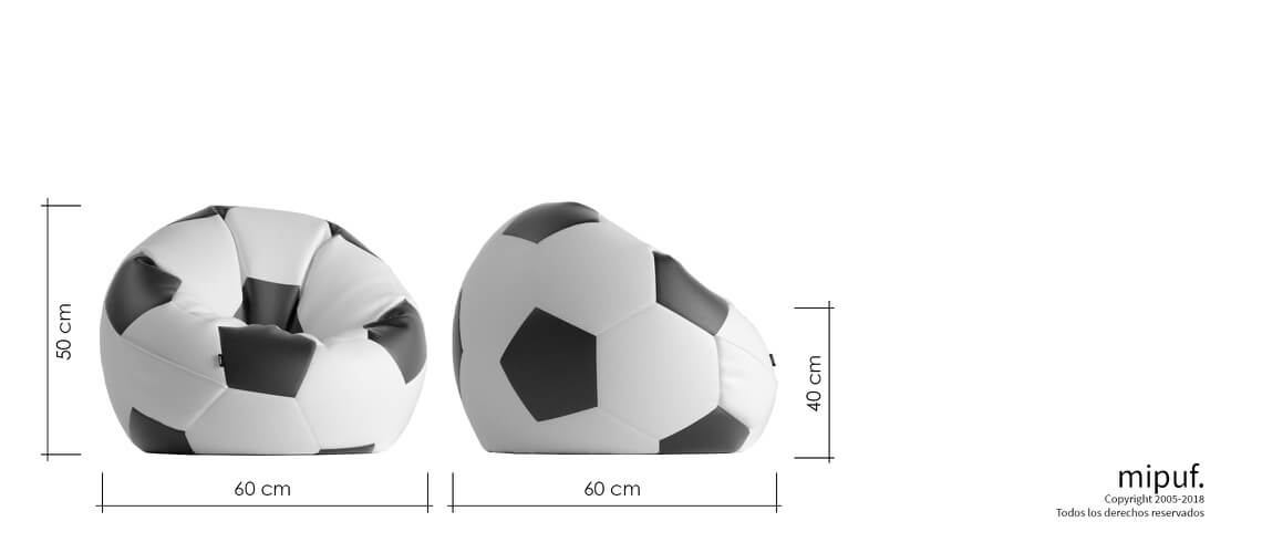 Puff Futbol 60 Diametro Infantil - Rojo y Blanco