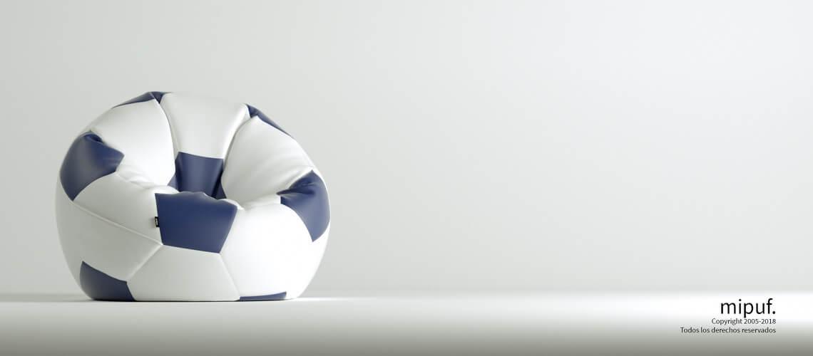 Puff Futbol 90 Diametro Juvenil - Azul Marino y Blanco