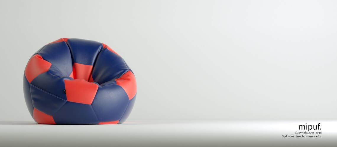 Puff Futbol 90 Diametro Juvenil - Azul Marino y Rojo