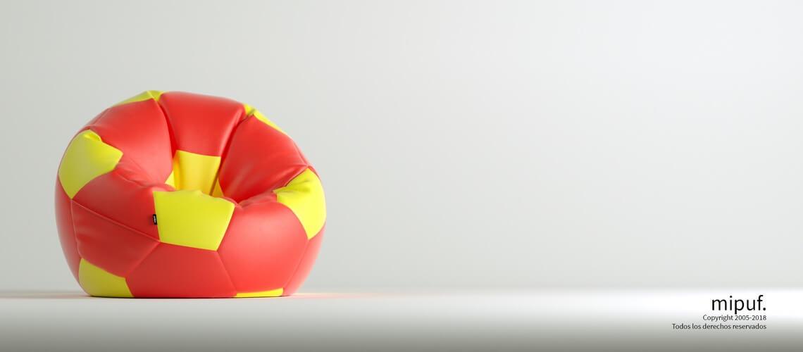 Puff Futbol 90 Diametro Juvenil - Rojo y Amarillo