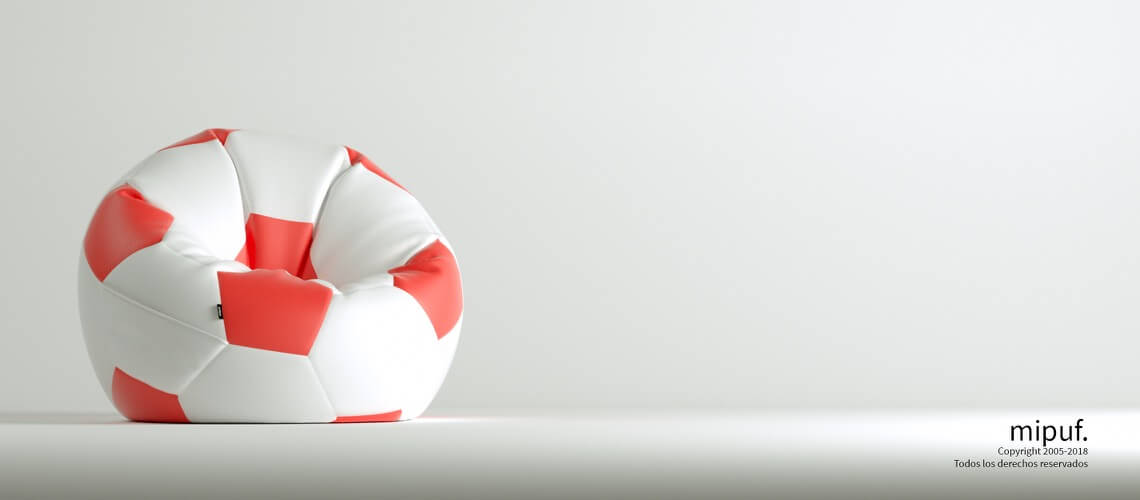 Puff Futbol 90 Diametro Juvenil - Rojo y Blanco