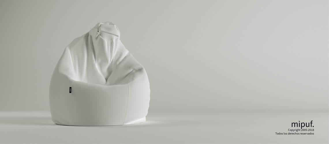Puf Pera XL -Poliester blanco
