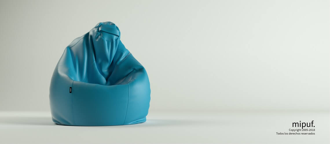 Puf Pera XL -Polipiel Azul turquesa