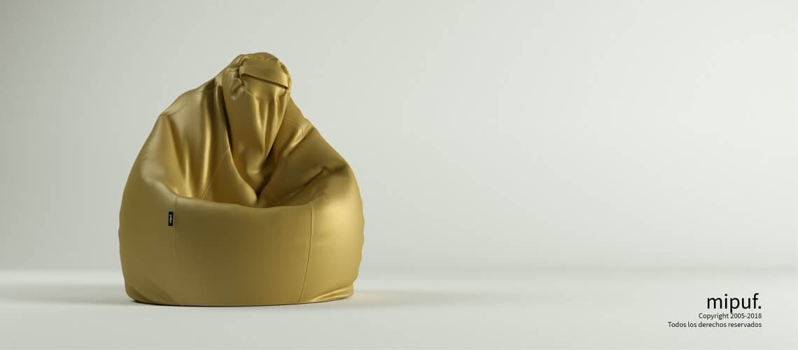 Puf Pera XL -Polipiel Dorado
