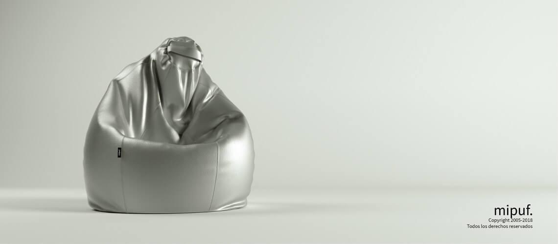 Puf Pera XL -Polipiel Plata