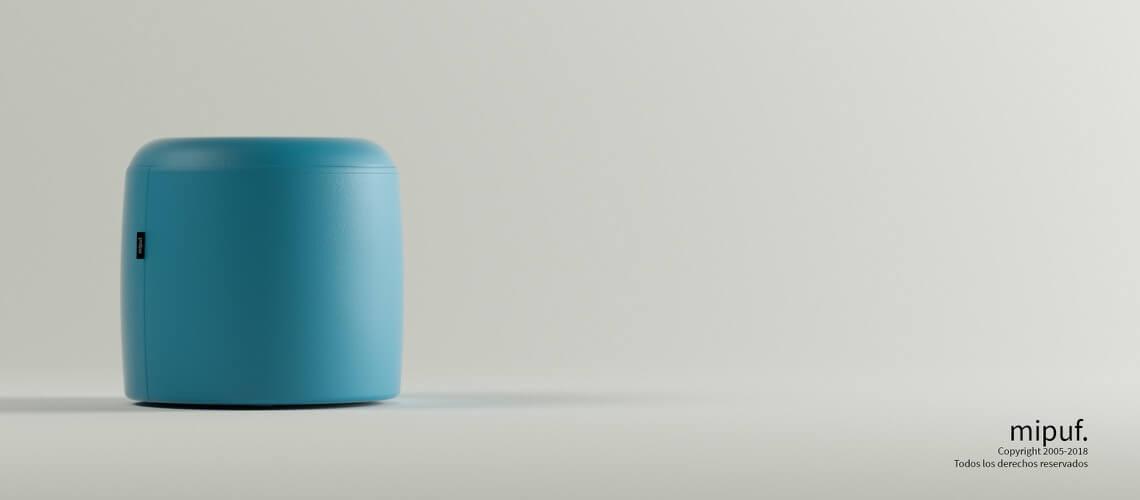 Puff Taburete 40x40 - Polipiel Azul turquesa