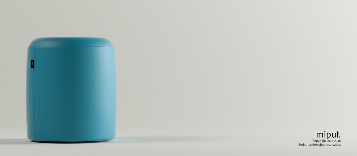 Puff Taburete 40x50 - Polipiel Azul turquesa