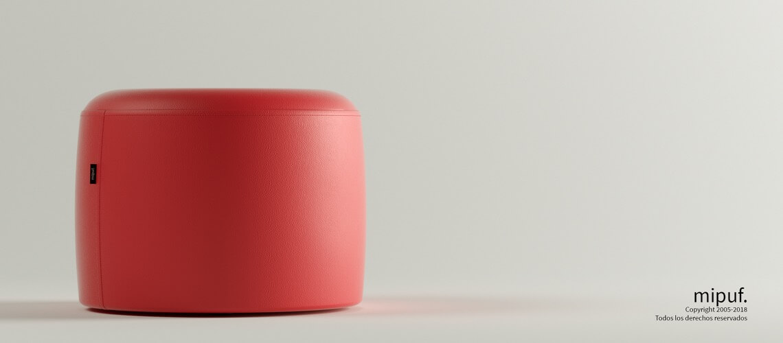 Puff Taburete 60x45 - Polipiel Rojo