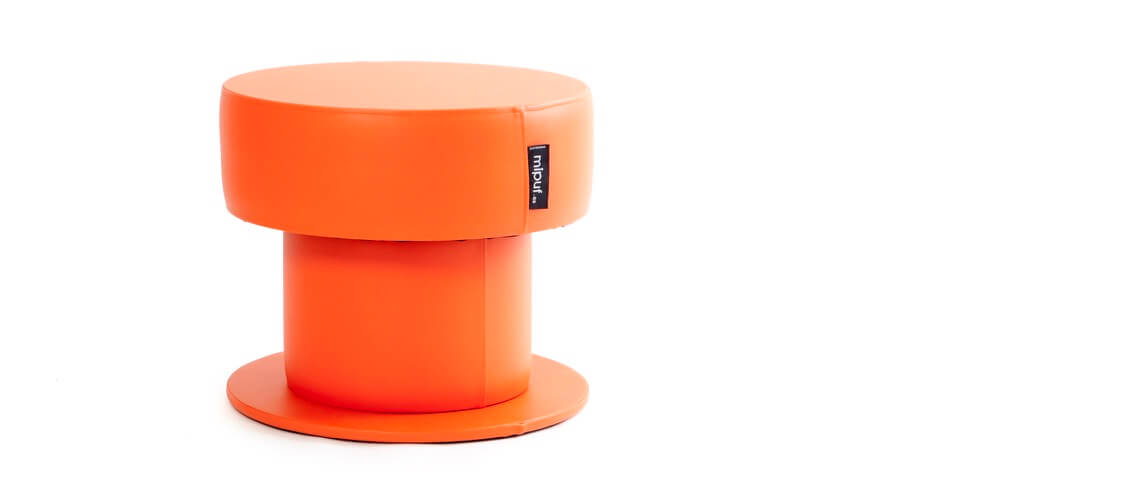 Mesa Tubular 60x50 Polipiel Naranja