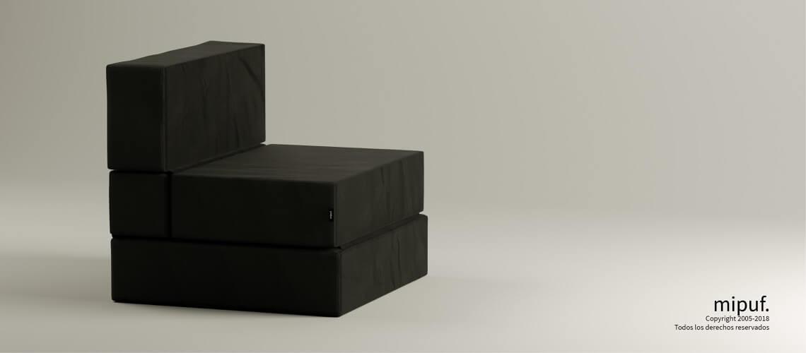 Puff Cama Convertible y Plegable - Antelina Negro