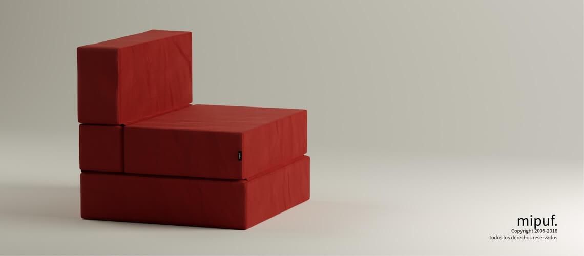 Puff Cama Convertible y Plegable - Antelina Rojo
