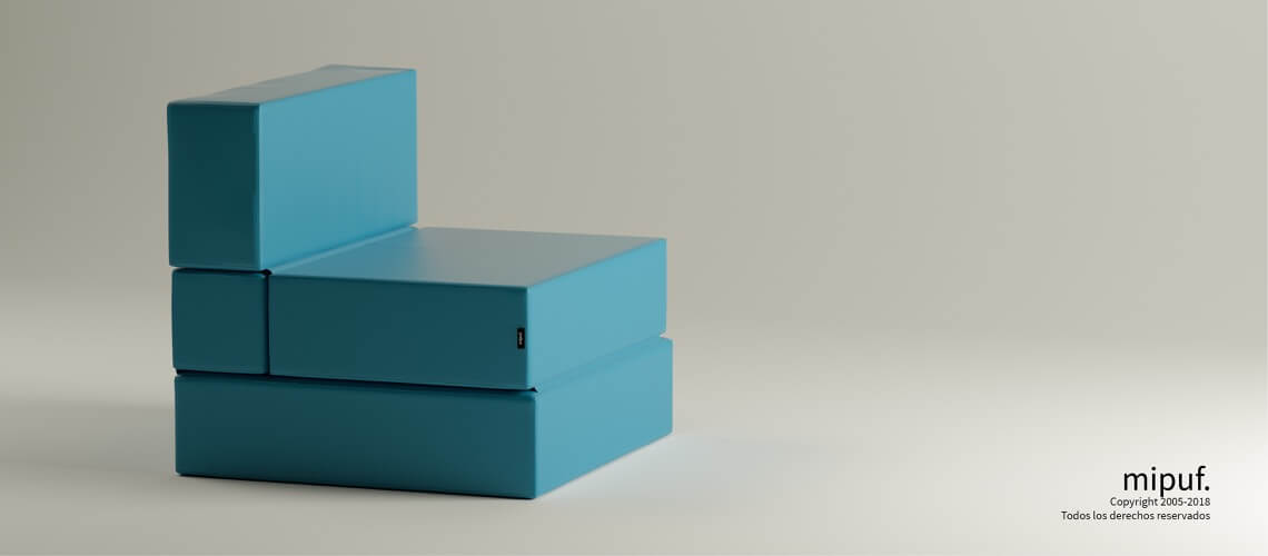 Puff Cama Convertible y Plegable - Polipiel Azul turquesa