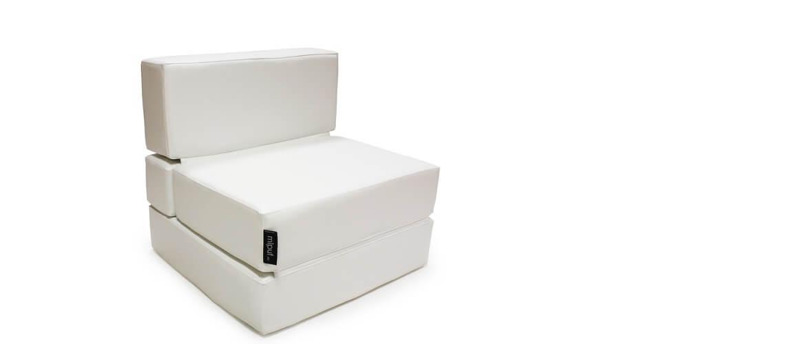 Puff Cama Convertible y Plegable - Polipiel Blanco