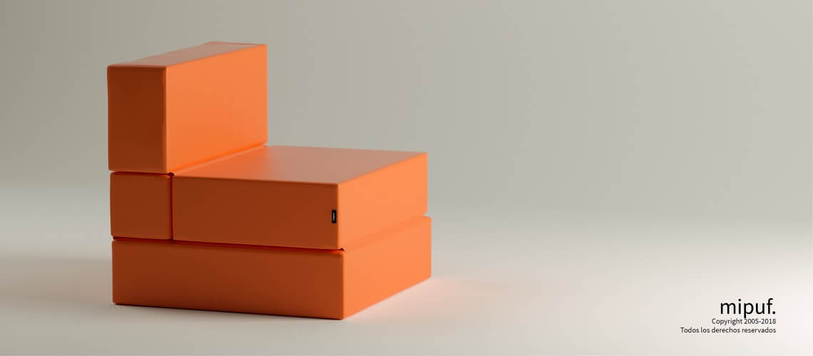 Puff Cama Convertible - Polipiel Naranja