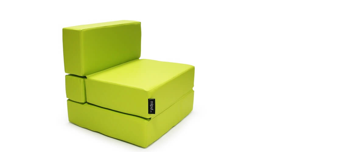 Puff Cama Convertible y Plegable - Polipiel Verde