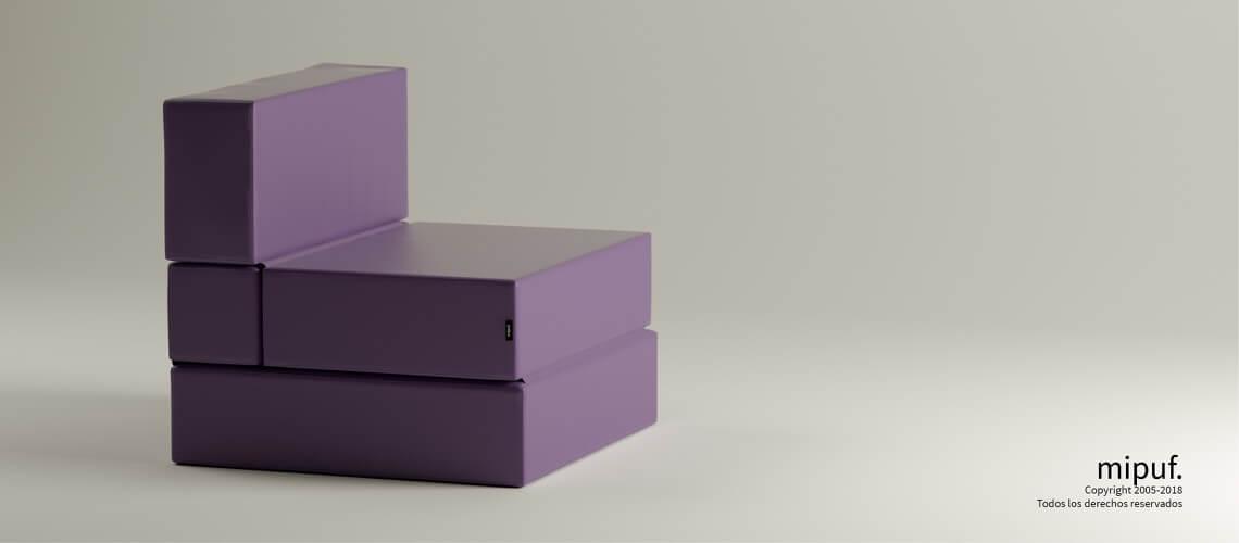 Puff Cama Convertible y Plegable - Polipiel Violeta